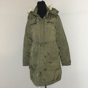H&M Detachable Fur Hood Parka Coat Army Green Sz S